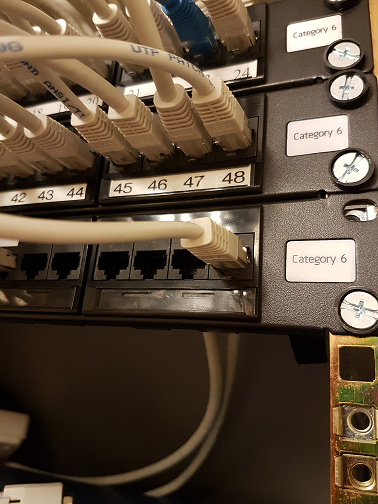 Patch  panels in a rack